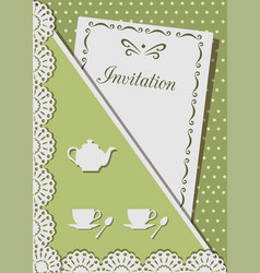 invitation card for tea decorated with laceon vector image