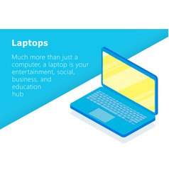 Isometric laptop icon flat design vector