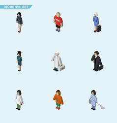 isometric people set of girl doctor medic and vector image