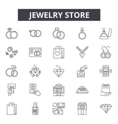 jewelry store line icons signs set vector image