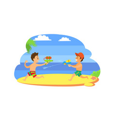 kids playing with guns with water children vector image