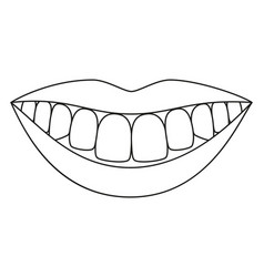 Line art black and white healthy smile vector