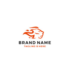 lion fire head flame king logo template icon vector image