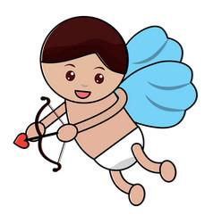 Love cupid angel fly bow arrow romantic vector