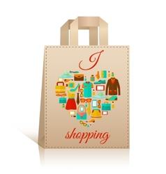 Love heart shopping bag symbol vector