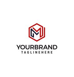 luxury m logo hexagon logo designs template vector image