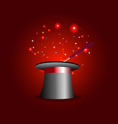 Magic hat and wand with sparkles on red backgroun vector