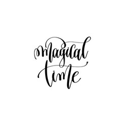 Magical time hand lettering event invitation vector
