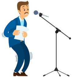 Man suffering from fear phobia public speaking vector