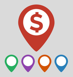 map marker with money icon on grey background vector image