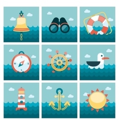 Marine flat icons set vector