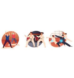 Martial arts flat icons set vector