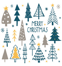 merry christmas simple minimalist trees vector image