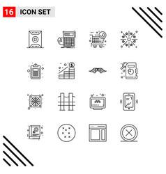Modern set 16 outlines pictograph light vector