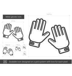 moto gloves line icon vector image