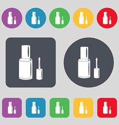 NAIL POLISH BOTTLE icon sign A set of 12 colored vector