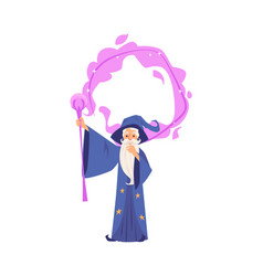 Old wizard man in robe and hat stands making magic vector