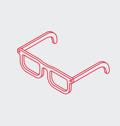 Outline isometric eye glasses icon vector