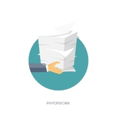 Paperwork flat background with paper office vector