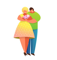 parenting together mother and father with newborn vector image