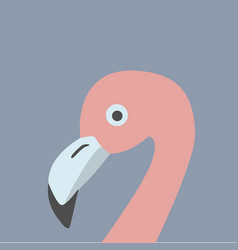Pink flamingo head retro style blue background vector
