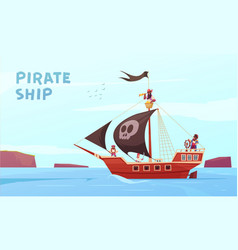 pirate ship background composition vector image