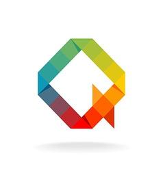 Q letter logo templateRainbow color flat squares vector image