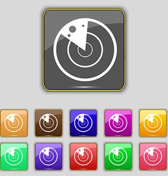 radar icon sign Set with eleven colored buttons vector image