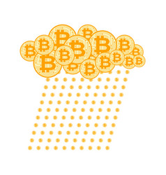 rain bitcoin cloud crypto currency virtual money vector image