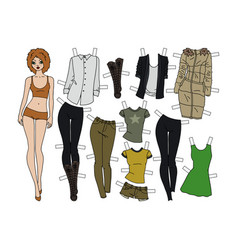Redhead paper doll with cutout clothes vector
