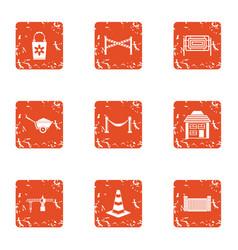 Repair yard icons set grunge style vector