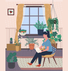 room with flowers girl reading book greenhouse vector image