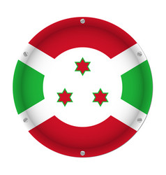 round metallic flag of burundi with screws vector image