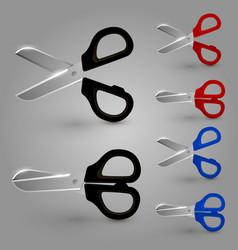 scissors color set vector image