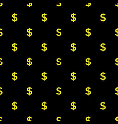 seamless dollar sign on black background vector image