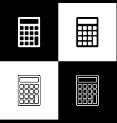 set calculator icons isolated on black and white vector image