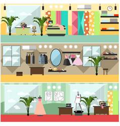 Set fashion atelier interior flat vector
