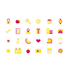set of business icons flat symbol and sign for vector image