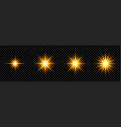 set of glowing light effect and stars shining star vector image