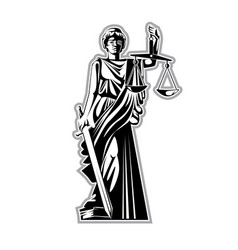 silhouette statue justice vector image