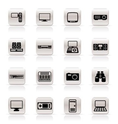 simple hi-tech equipment icons vector image