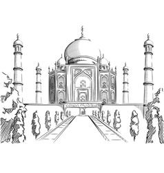 Sketch india landmark taj mahal vector