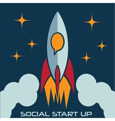social start up flat design concept with rocket vector image