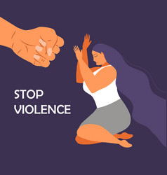 Stop violence against women in family woman vector