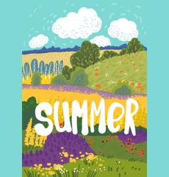summer nuture landscape colorful floral greeting vector image