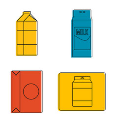 tetra pack icon set color outline style vector image
