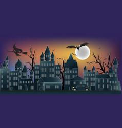 the dark night halloween and full moon vector image