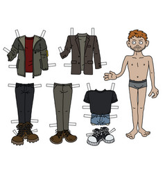 the paper doll boy vector image