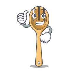thumbs up wooden fork character cartoon vector image
