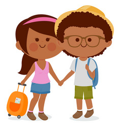 Tourist couple with suitcases vector